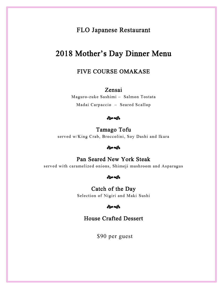 FLO Mother's Day Menu | Bellevue, WA